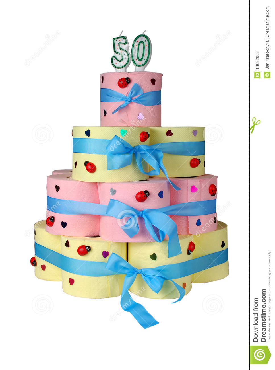 50th Birthday Cake Made From Toilet Paper Stock Photos