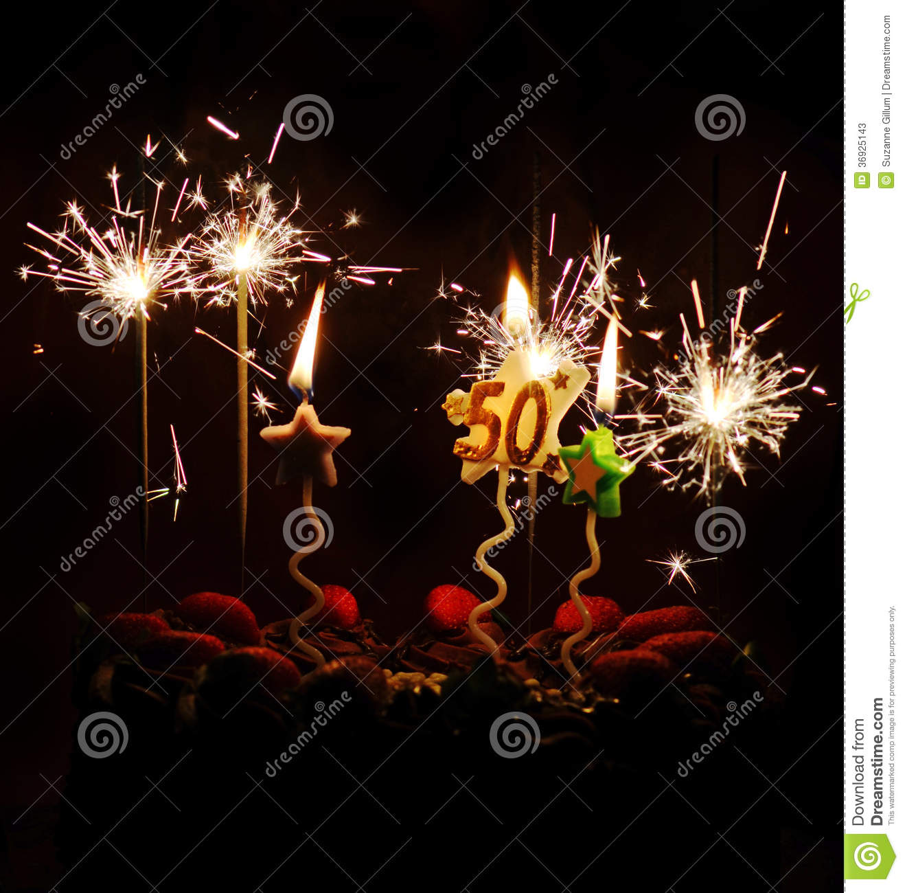 50th Birthday Celebration Cake Sparklers Candles Stock Image