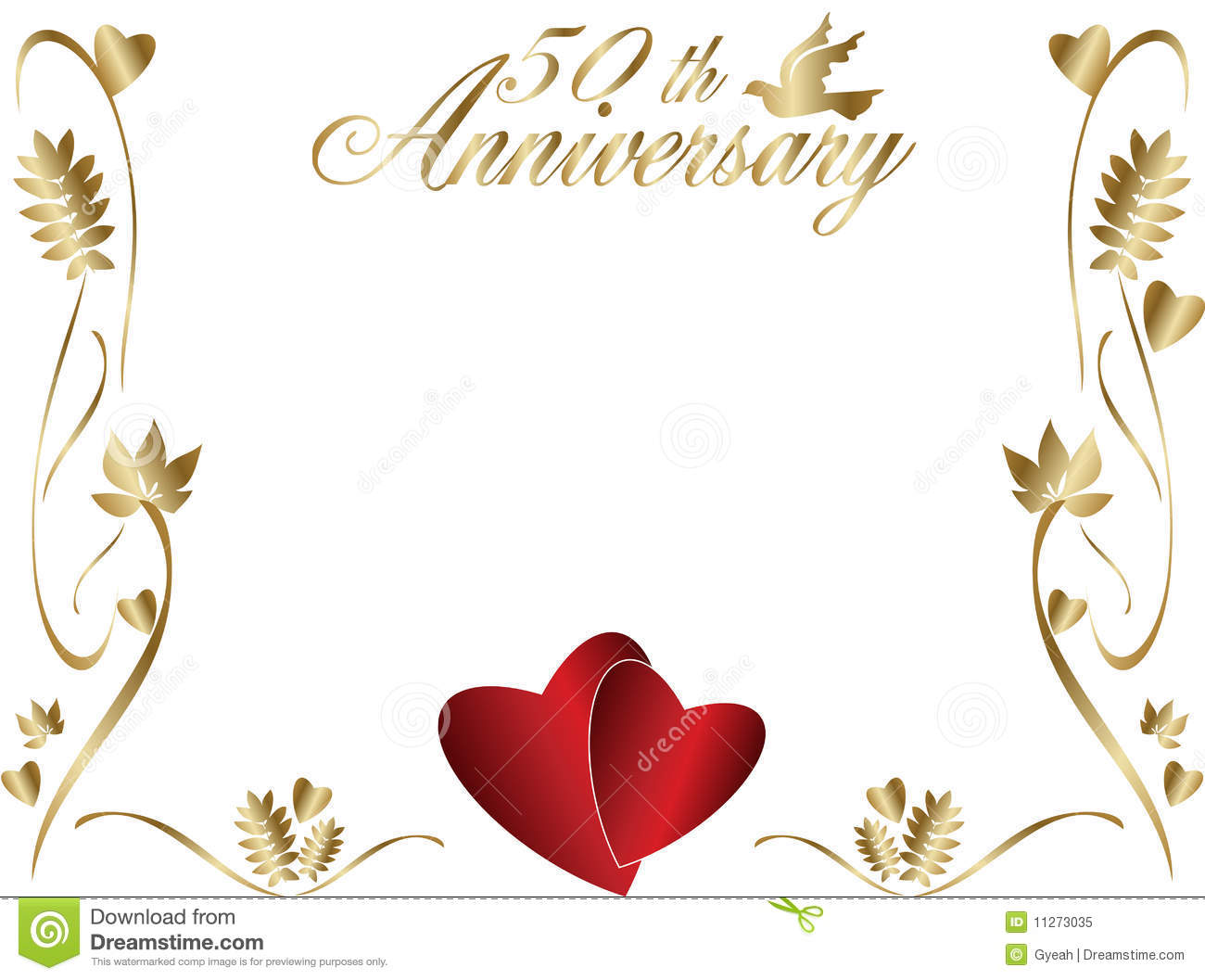50th anniversary border dove hearts wedding