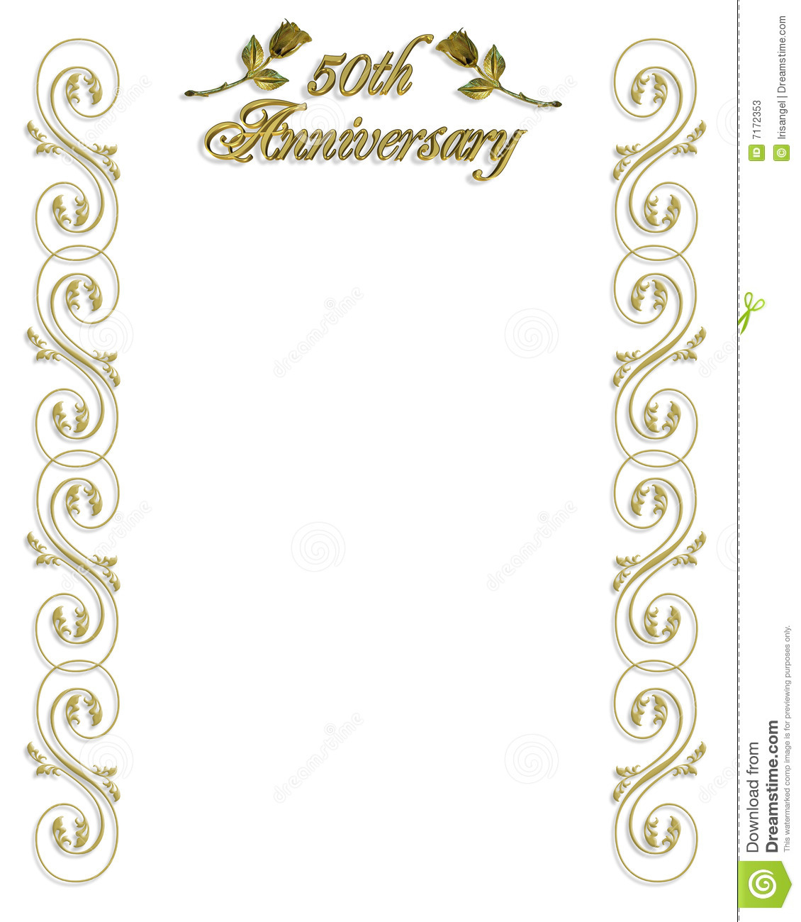 50th wedding anniversary invitation stock illustration image and illustration composition for 50th wedding anniversary invitation background card or border with gold ornamental design 3d text and golden roses stopboris Choice Image
