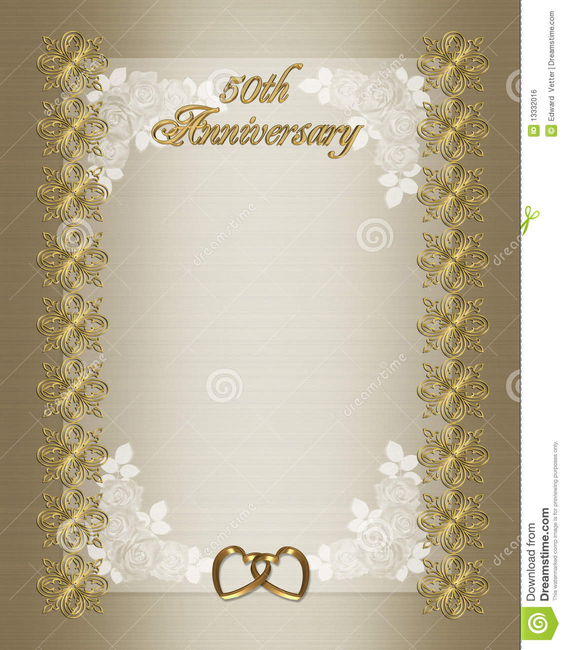 50th wedding anniversary invitation template stock illustration 50th wedding anniversary elegant formal invitation template background border with gold text and ornamental accents on golden satin stopboris Gallery