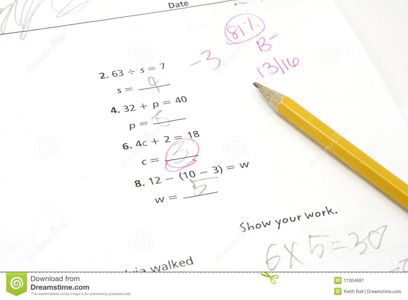 5th Grade Math Test Stock Image Image Of Learning Elementary