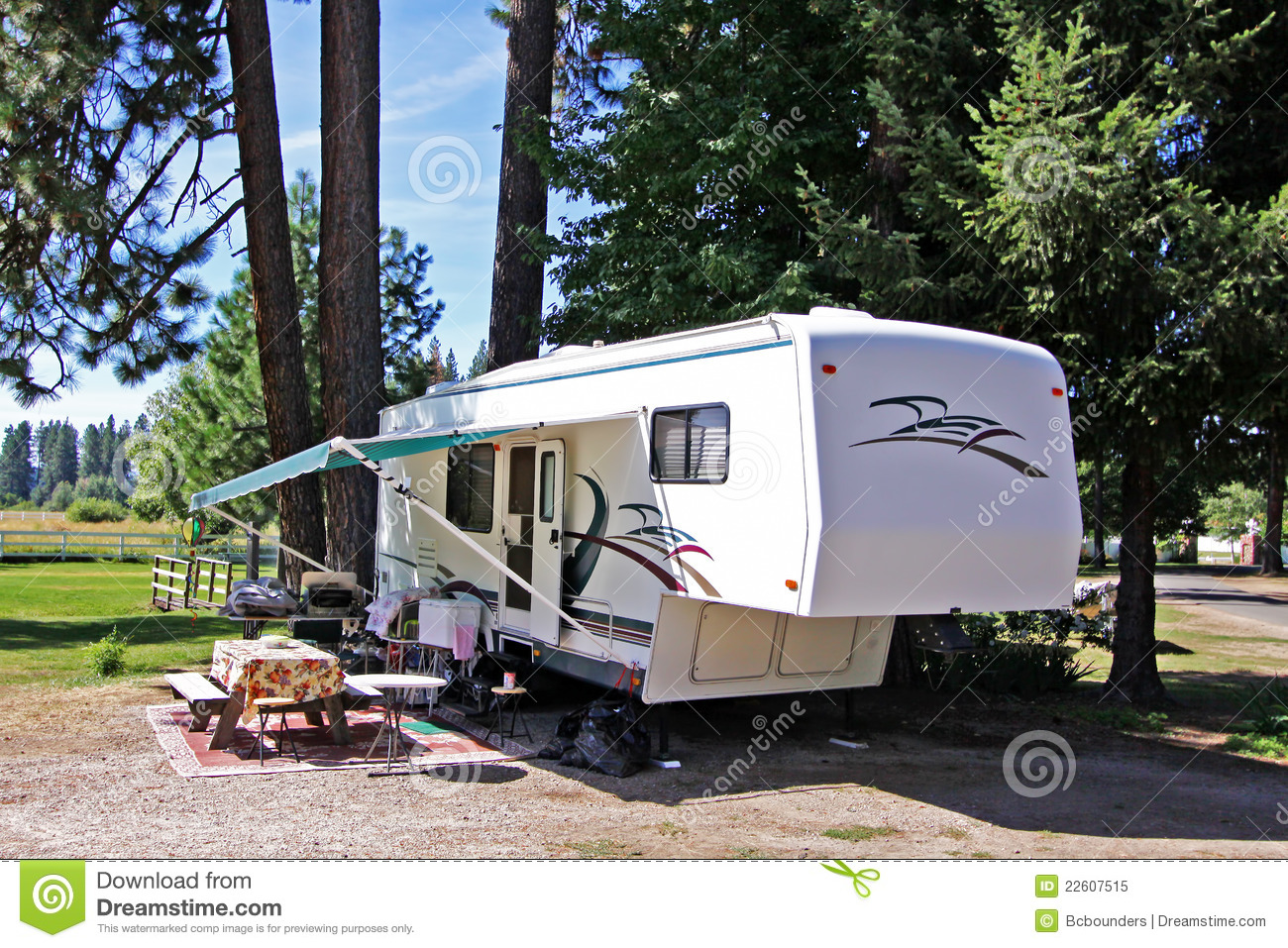 5th Wheel Rv Camping Royalty Free Stock Photo Image
