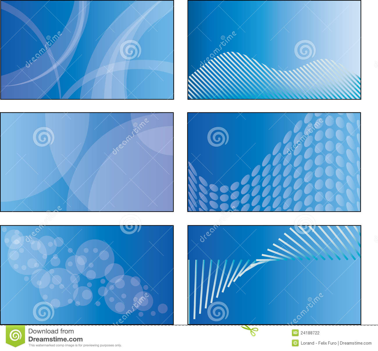 6 blue business card template designs stock photography