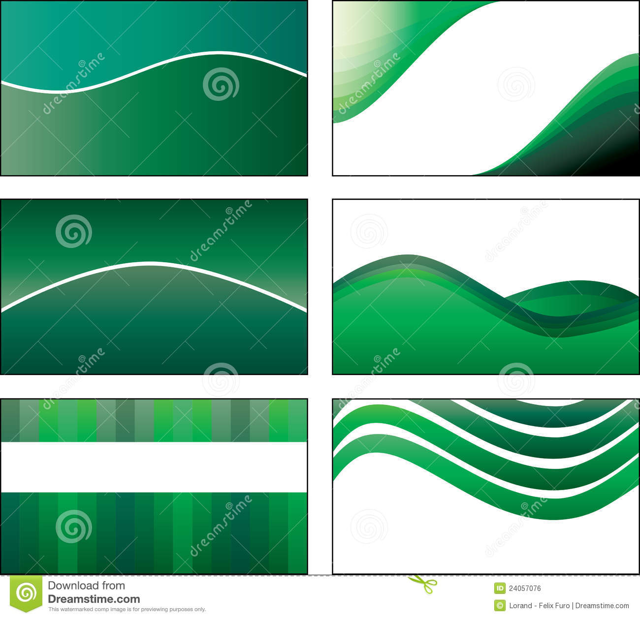 6 green business card template designs stock vector illustration 6 green business card template designs friedricerecipe Images