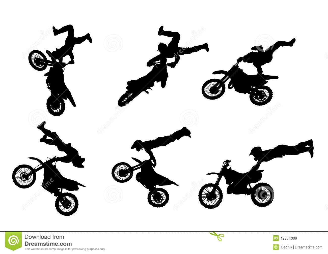 6 High Quality Freestyle Motocross Silhouettes Royalty