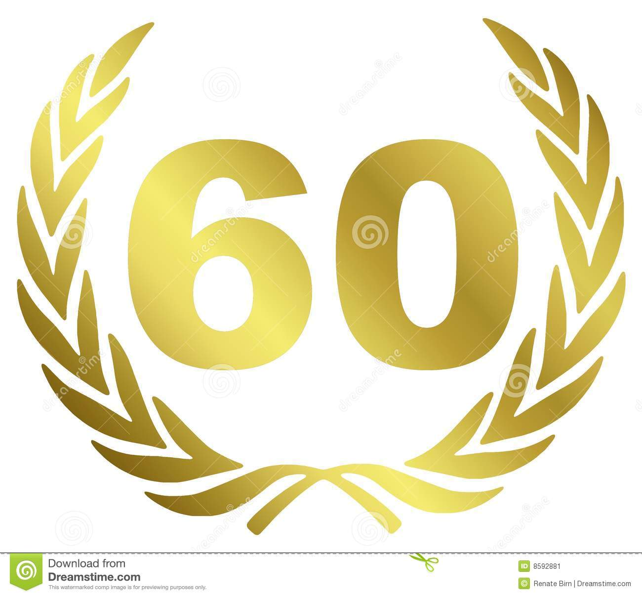 60 Anniversary illustration with laurel wreath.