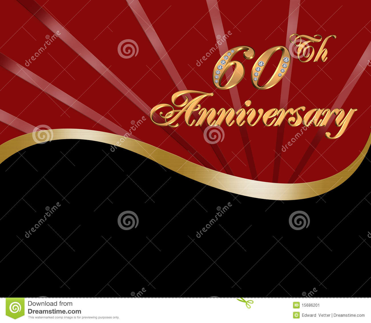 60th Wedding Anniversary card or invitation template with diamond ...