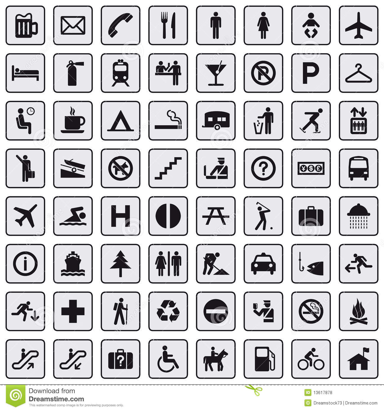 64 Different Icons Pictogram Grey Royalty Free Stock