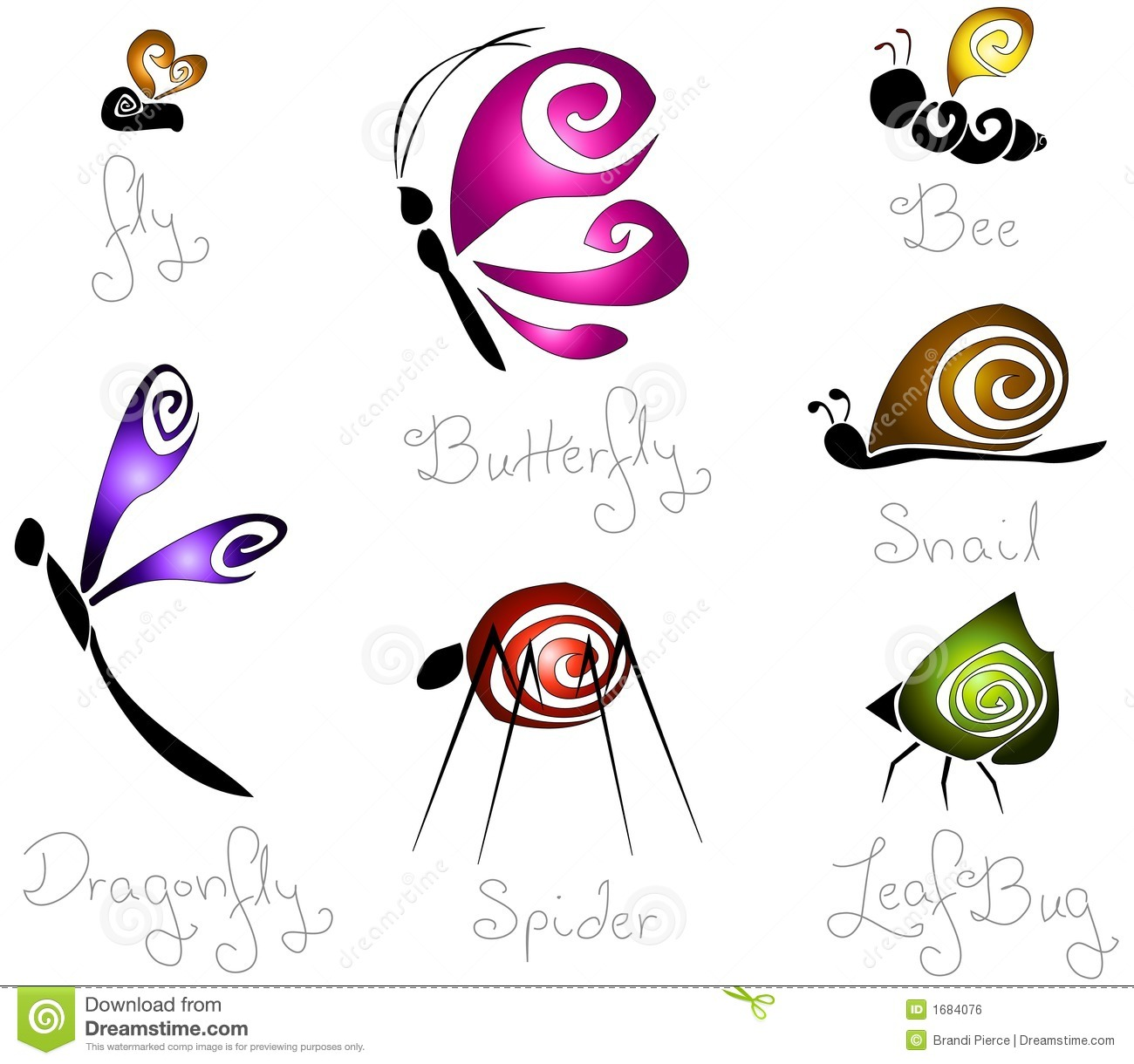 7 Different Concept Stylized Insects