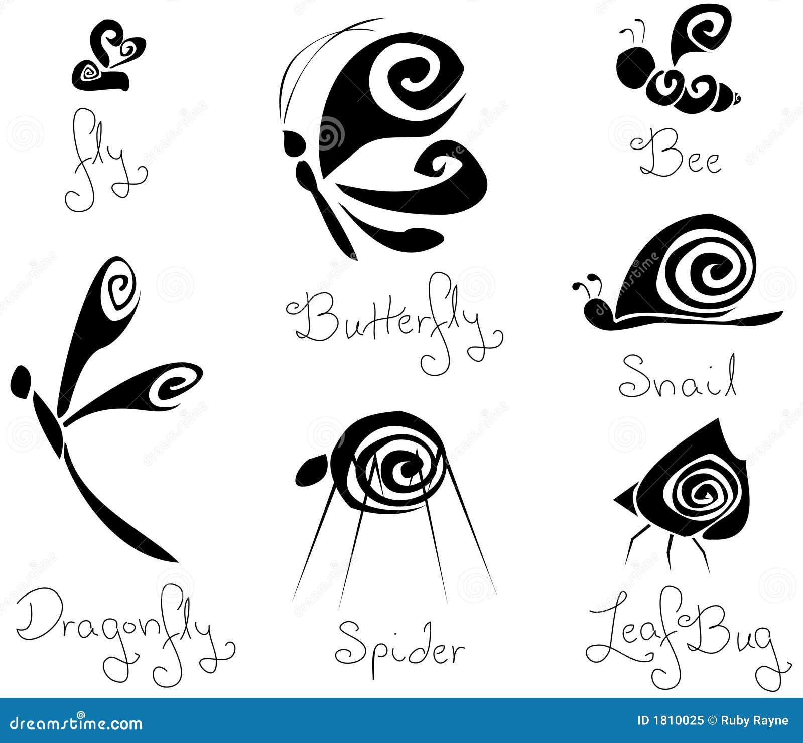 7 insetti stilizzati b u0026w di concetto differente