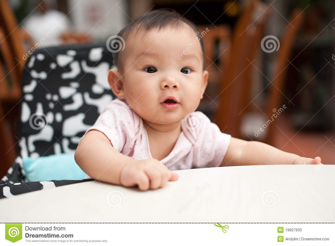 7 Month Old Asian Baby Girl Stock Image Image Of Dining