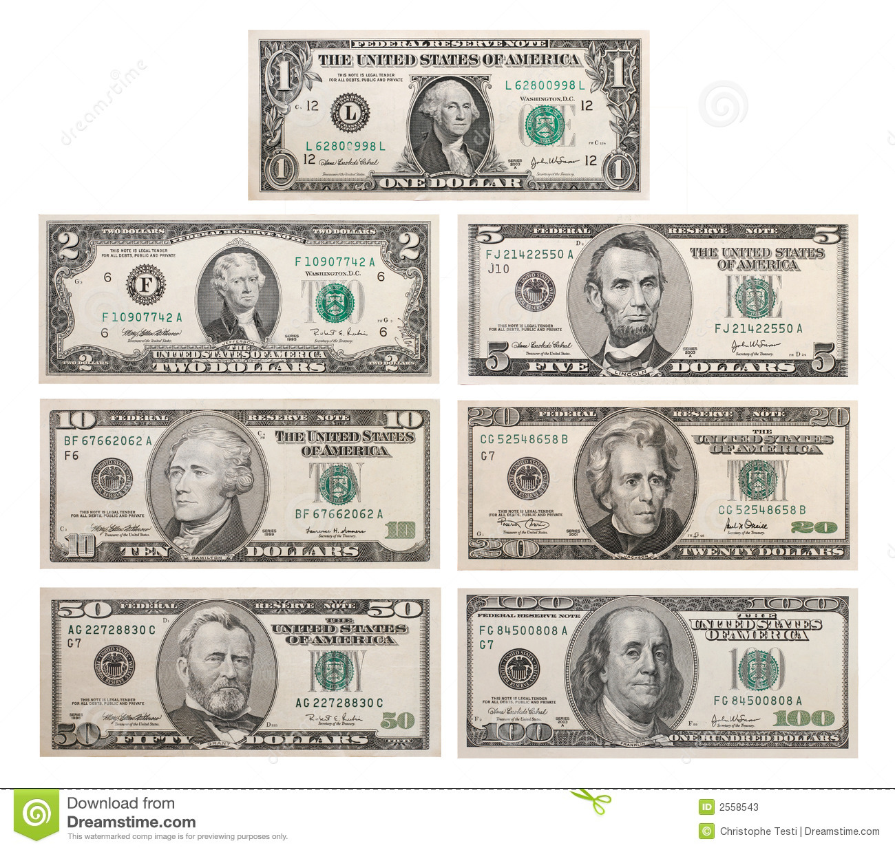 7 Us Bank Notes Stock Image Image Of Investment Business