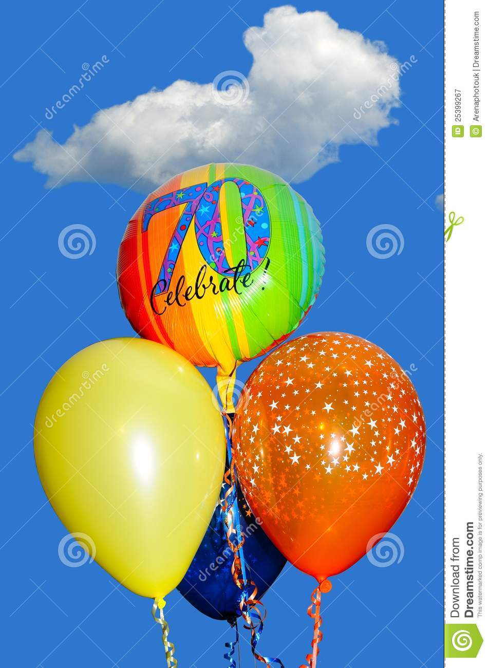 70th Birthday Balloons Stock Image Of Blue