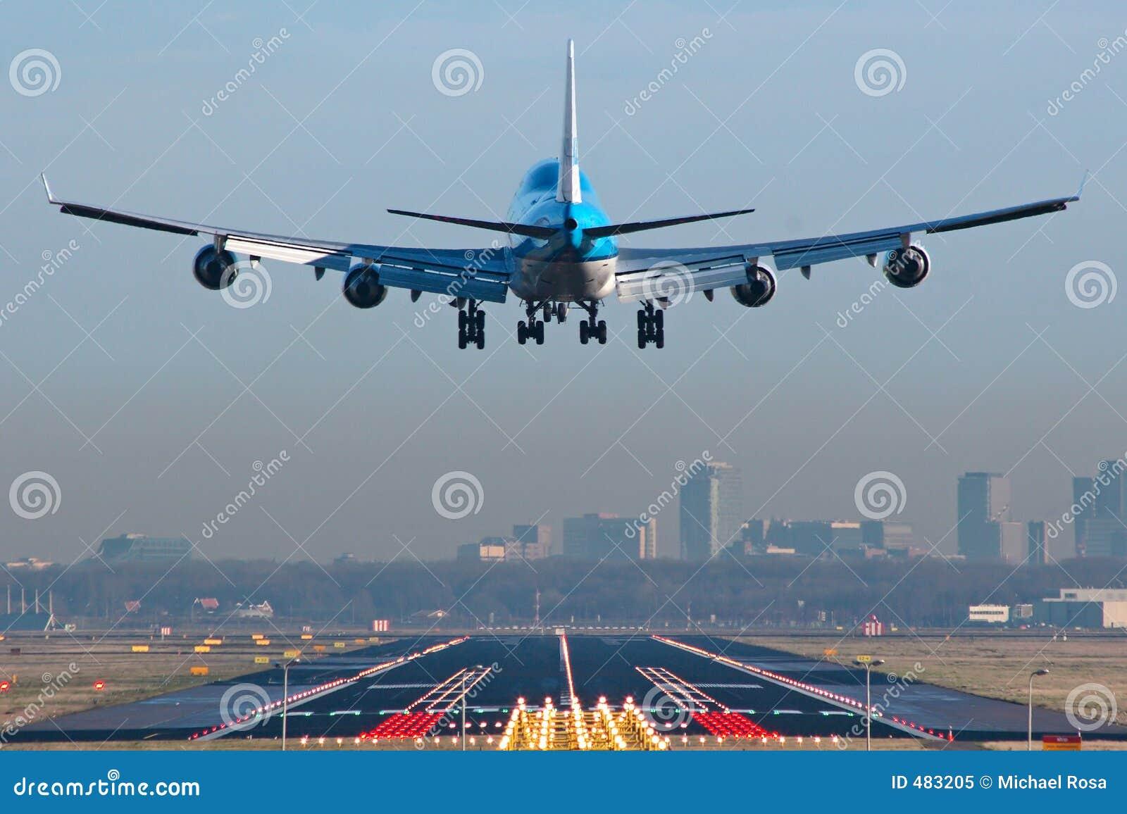 747 flygplan boeing till landningsögonblicken