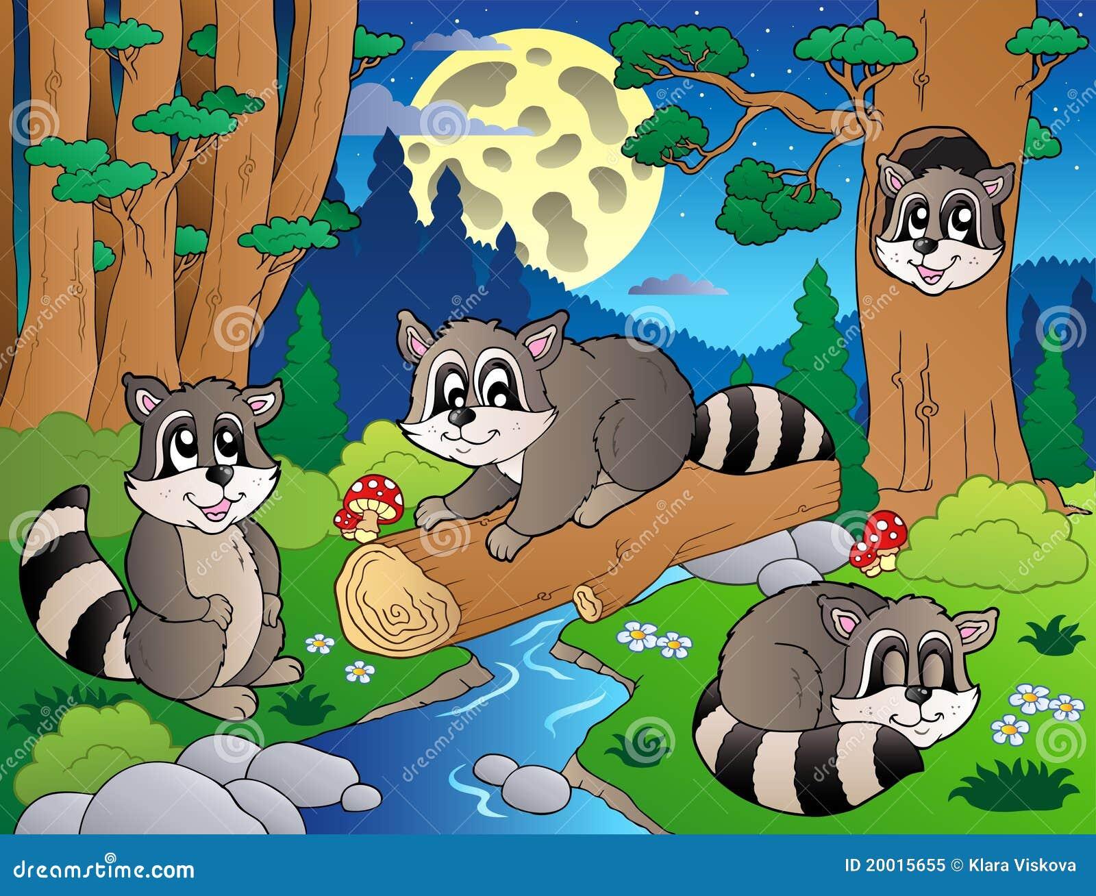 8个动物多种森林场面图片