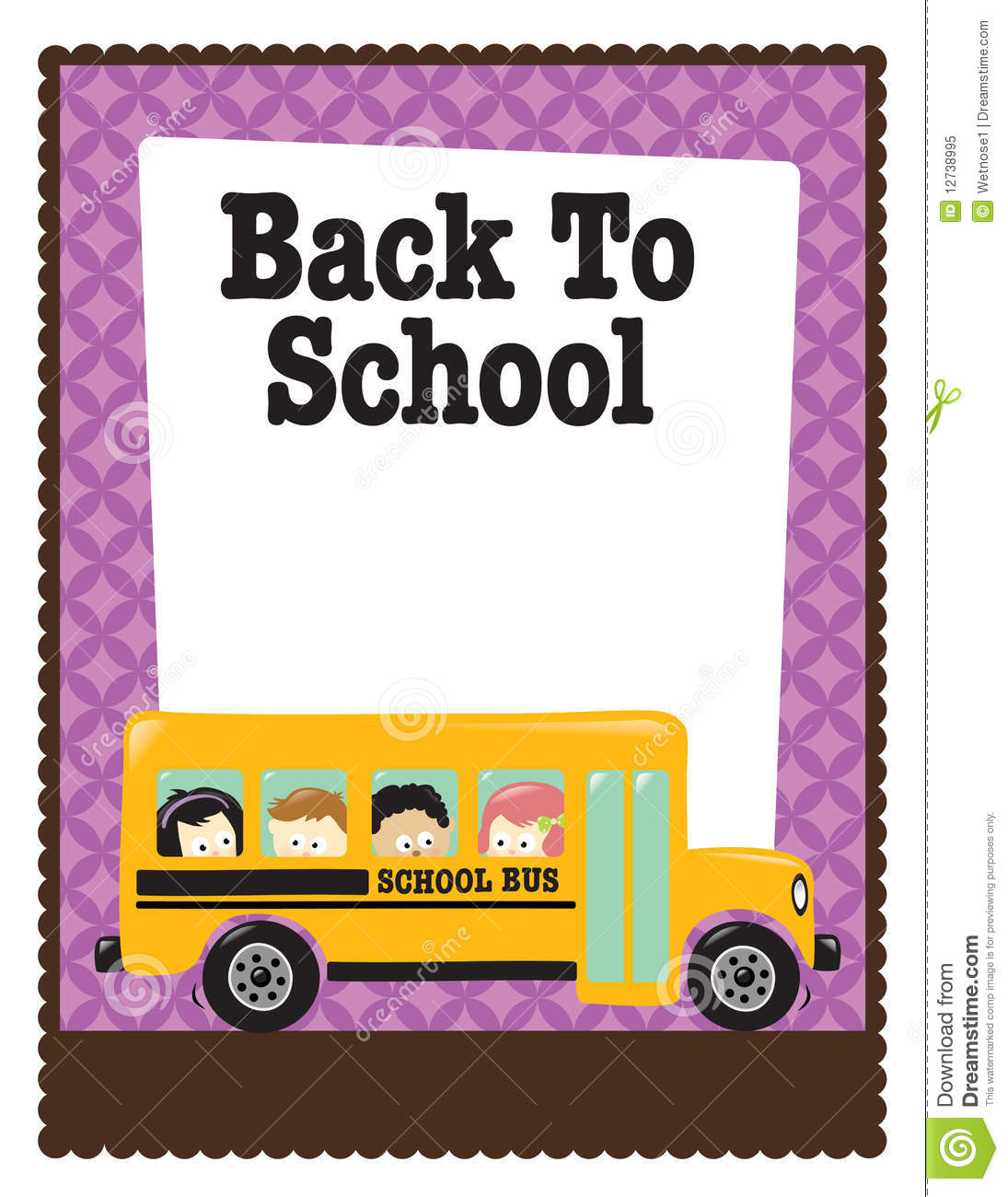 8.5x11 School Flyer W/ Bus And Kids Royalty Free Stock