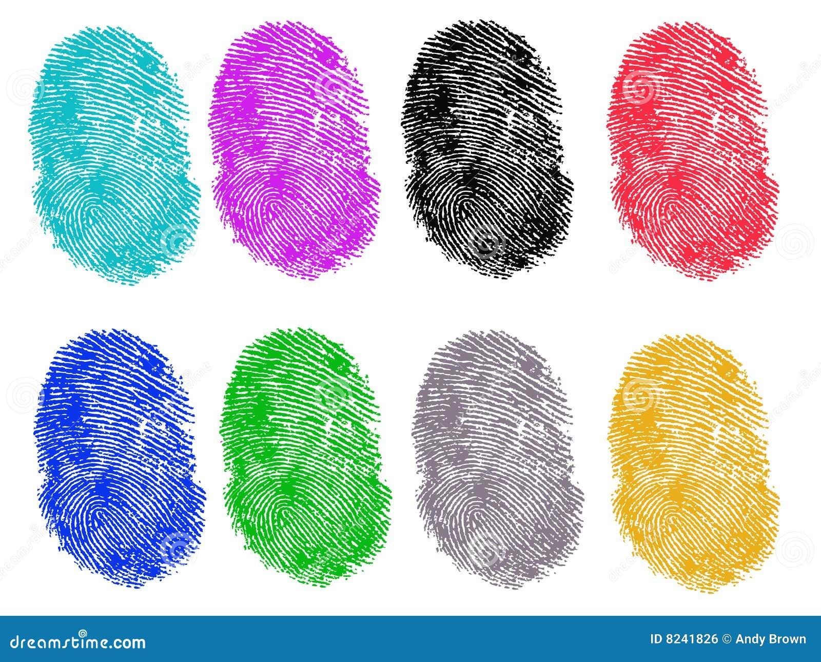 8 colored fingerprints royalty free stock image image