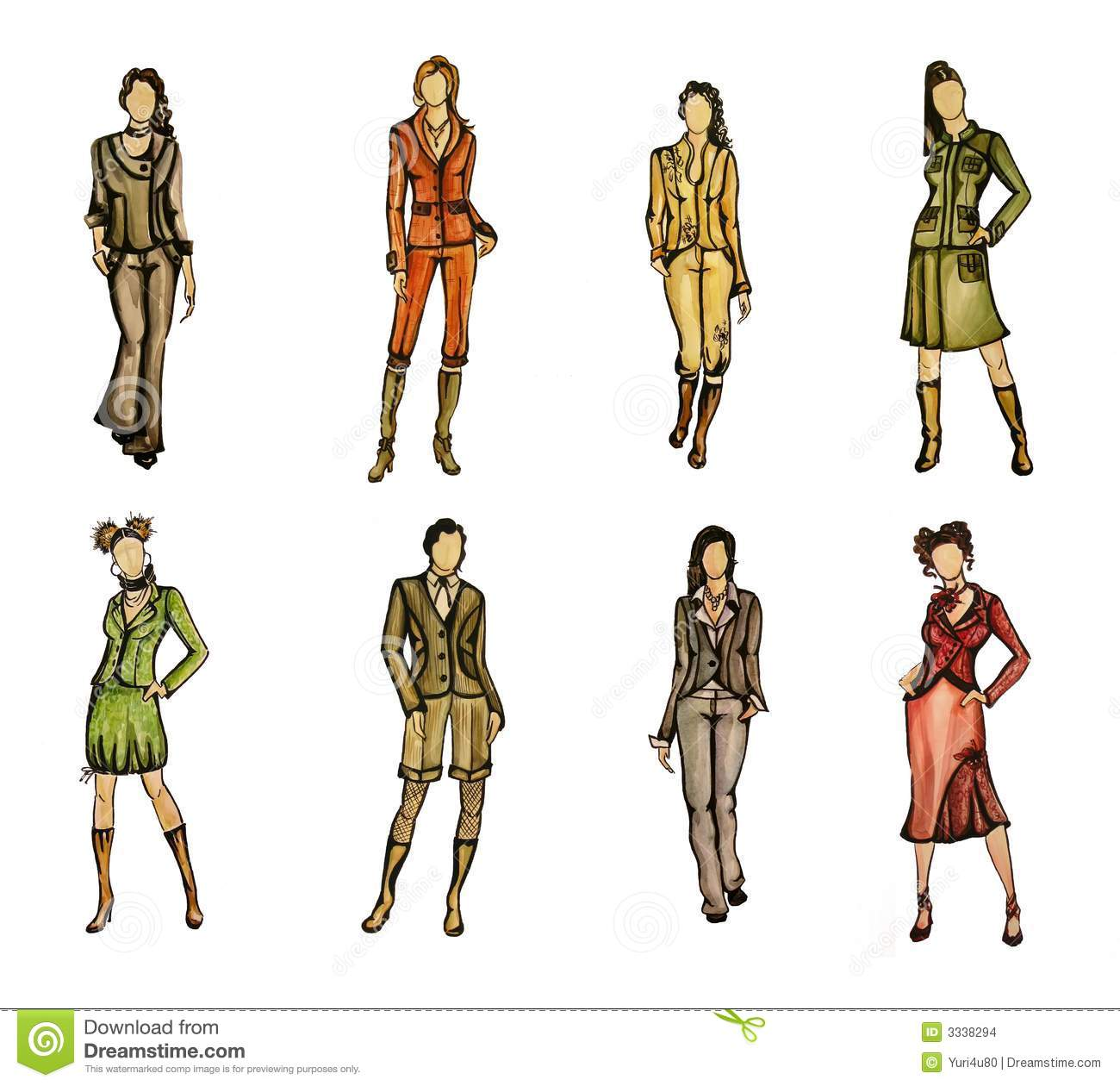 8 different fashion models