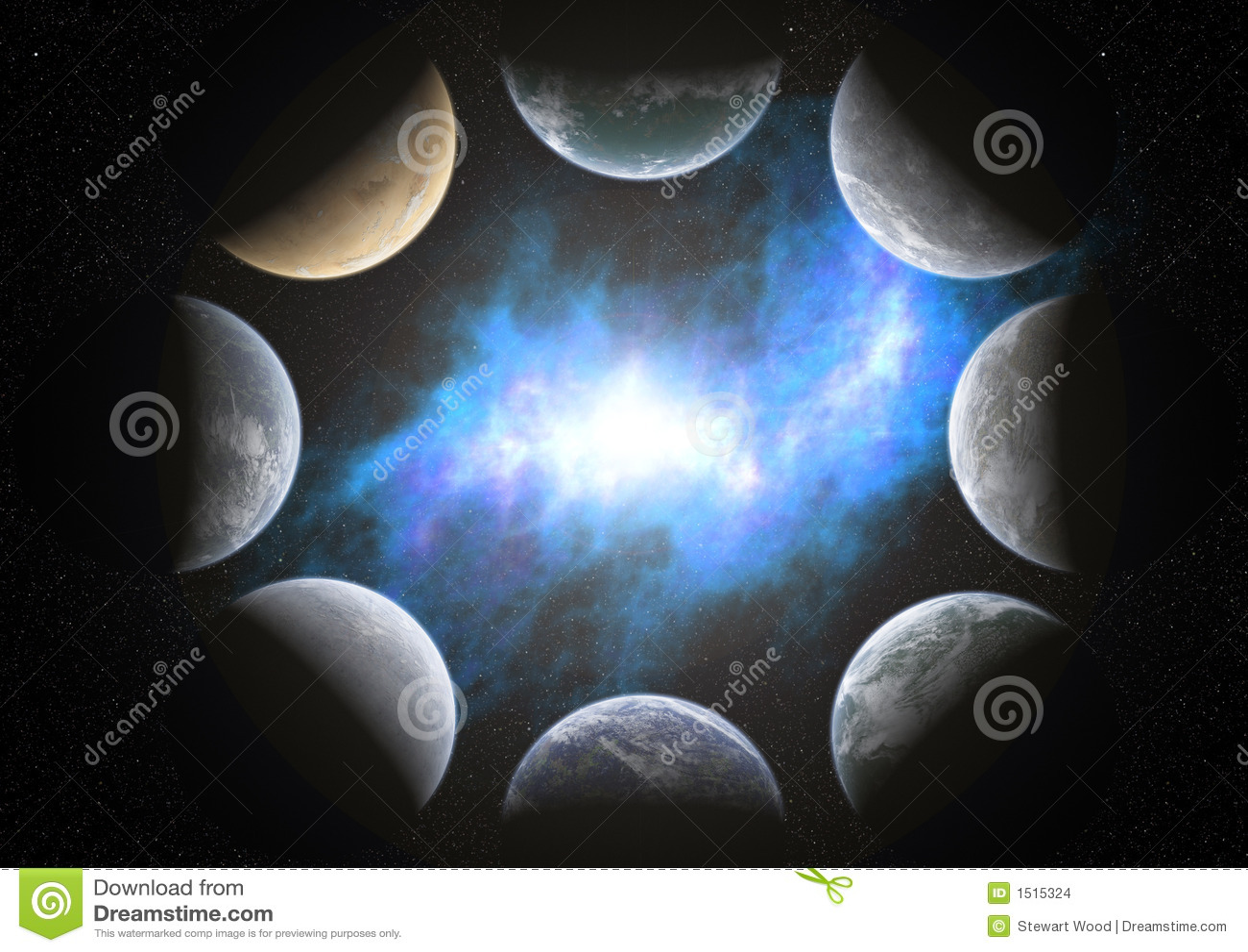 Ilustração Gratis Espaço Todos Os Universo Cosmos: 8 Planetas Em Torno De Uma Nebulosa Ilustração Stock