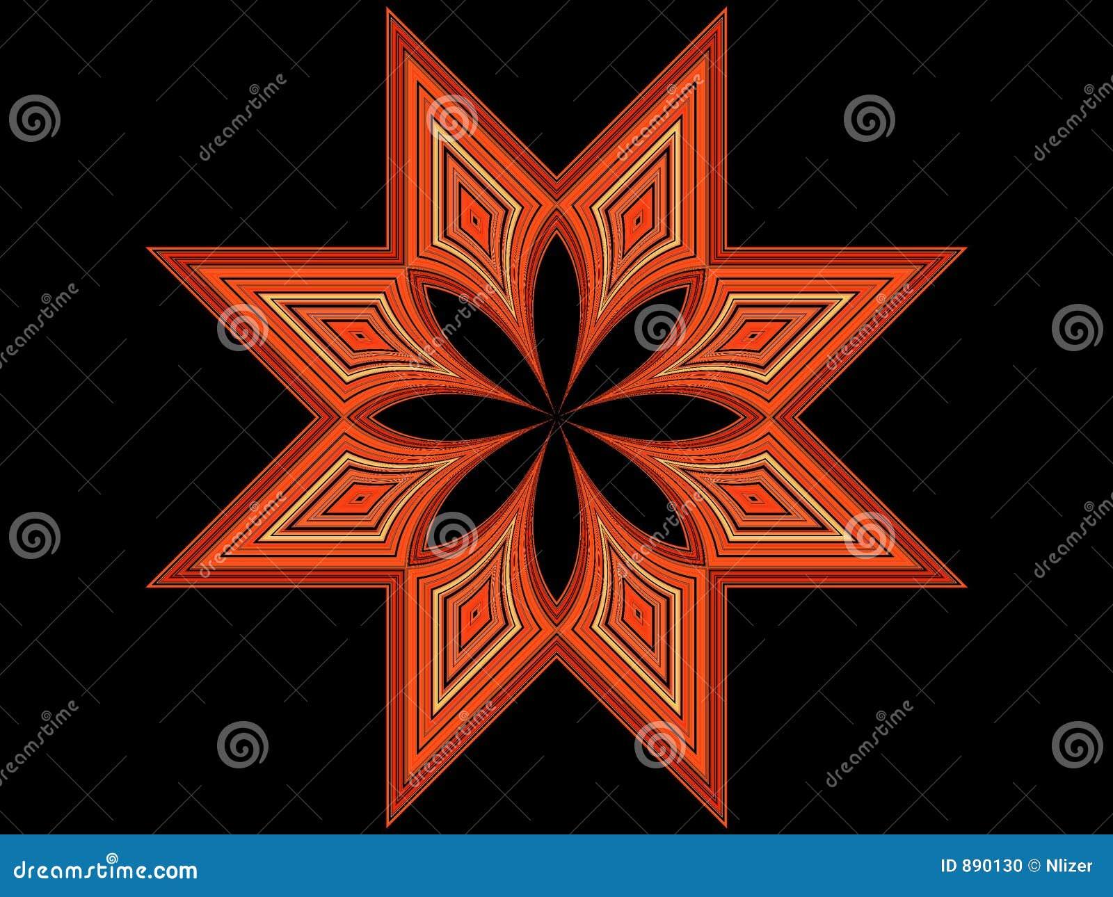 8 punktu czarna pomarańczowa gwiazda