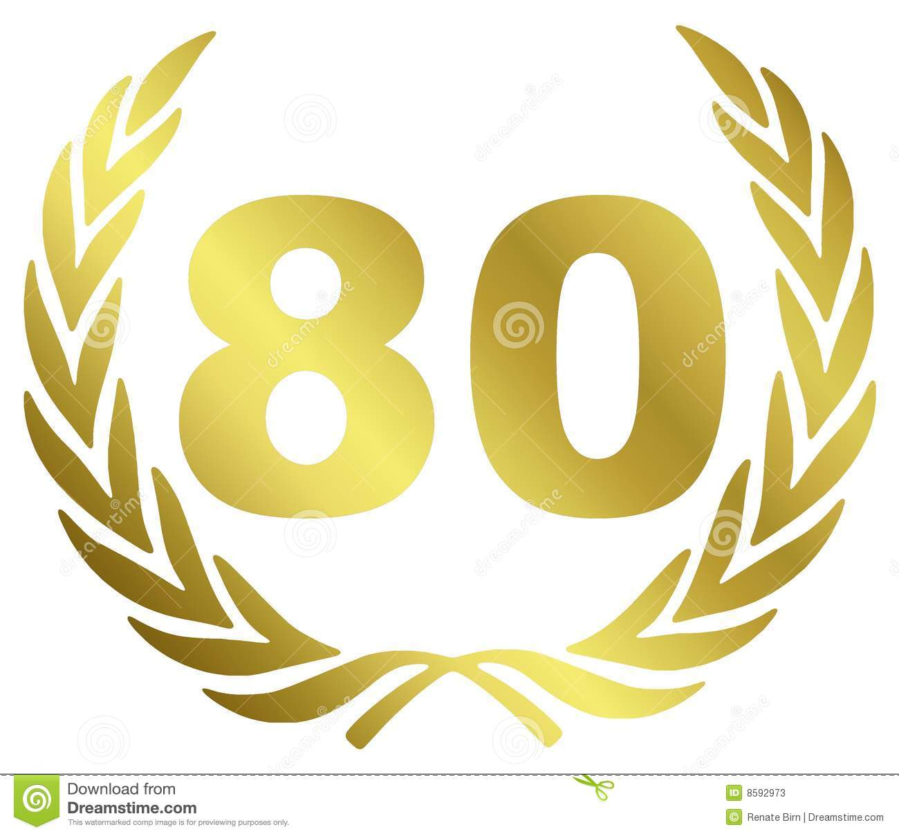 80 Anniversary illustration with laurel wreath.