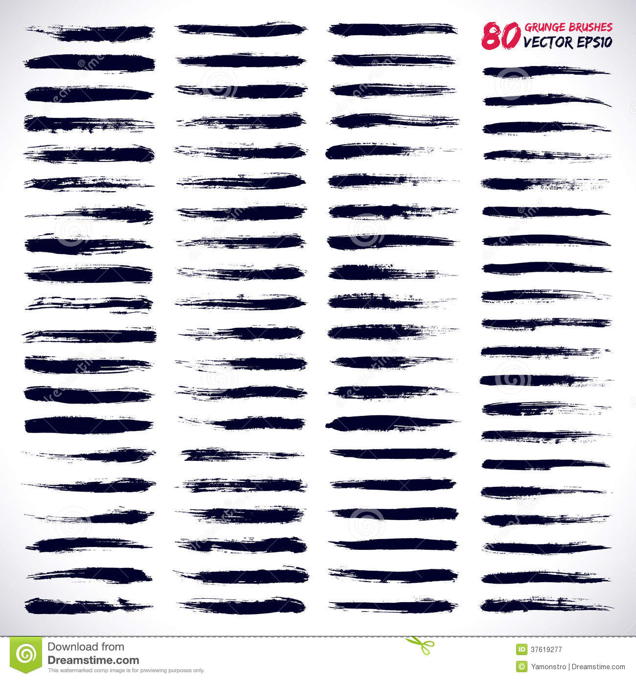 80 Hand Drawn Vector Grunge Brushes Stock Vector - Illustration of