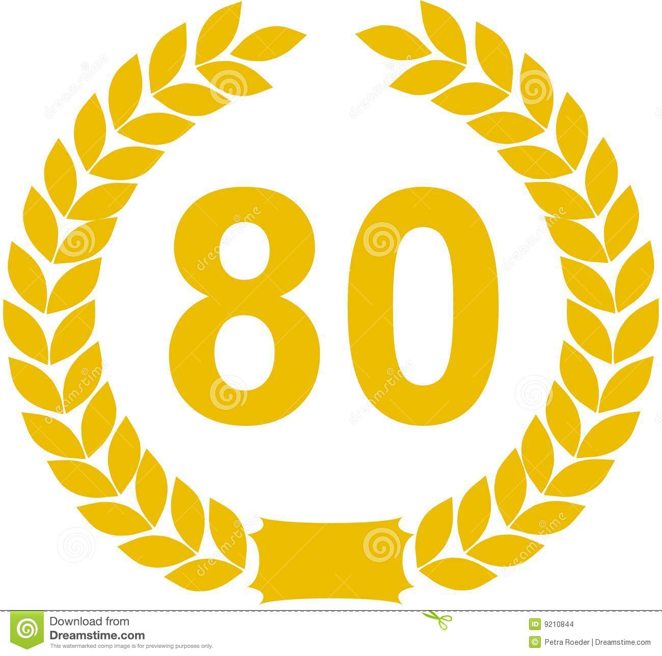 Illustration of a yellow wreath enclosing an 80. Isolated on