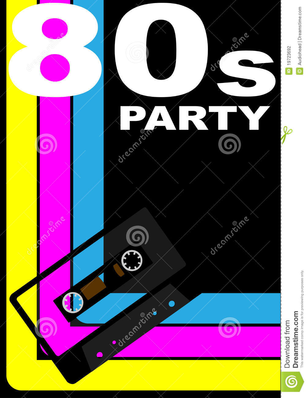 80s Party Poster stock vector. Image of party, cassette - 19723692