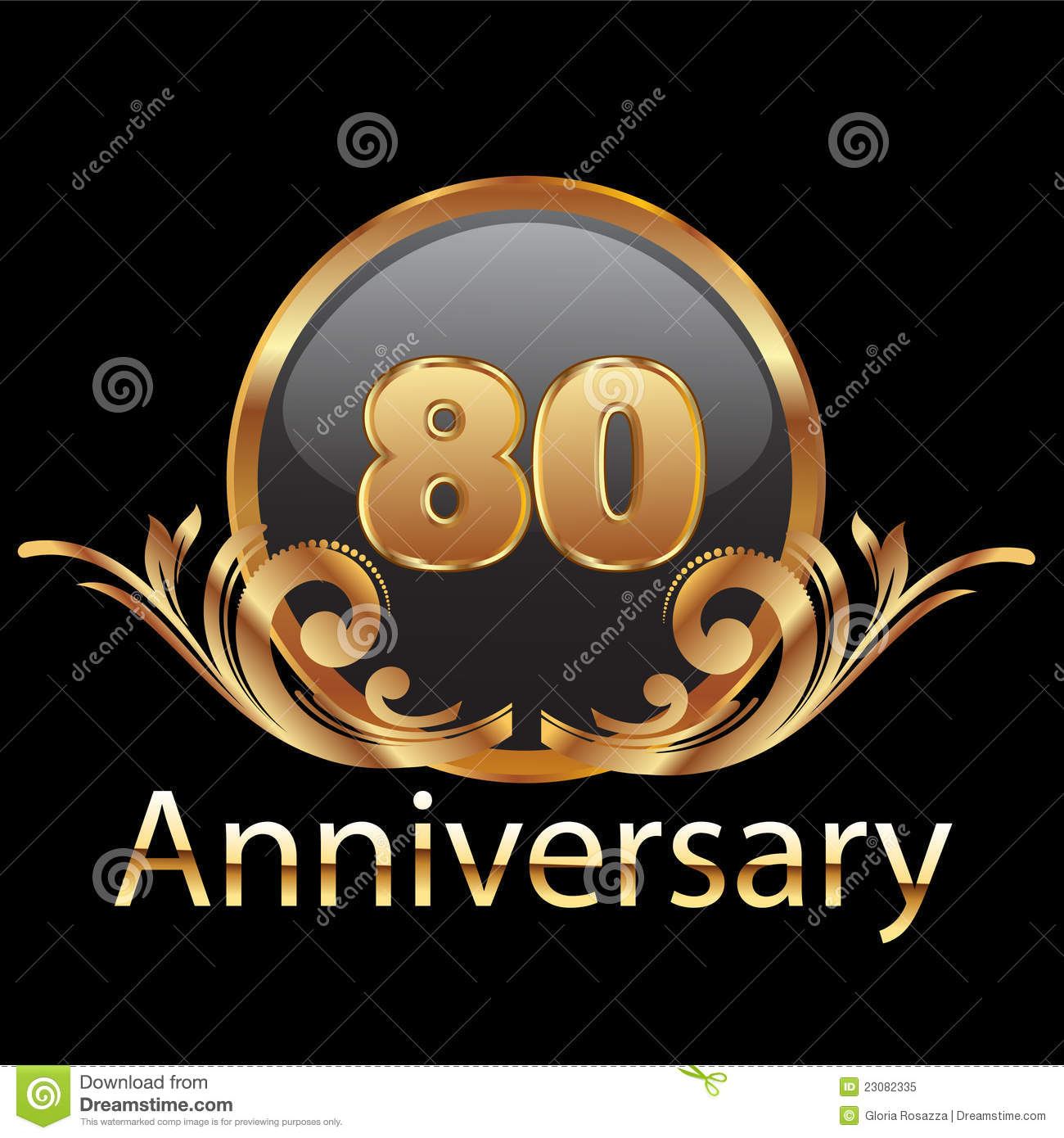 80th Wedding Anniversary Gift: 80th Anniversary Gold Stock Illustration. Image Of 80th