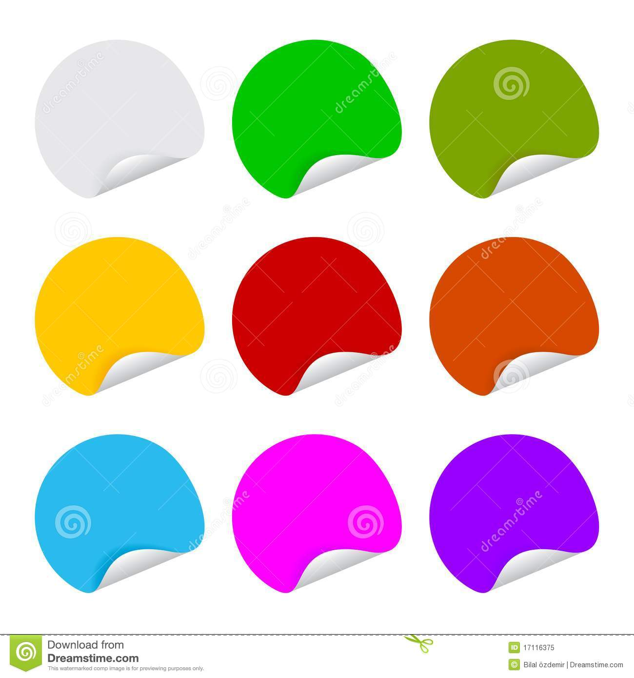 9 Color Adhesive Label Blank Round Stock Vector - Illustration of ...
