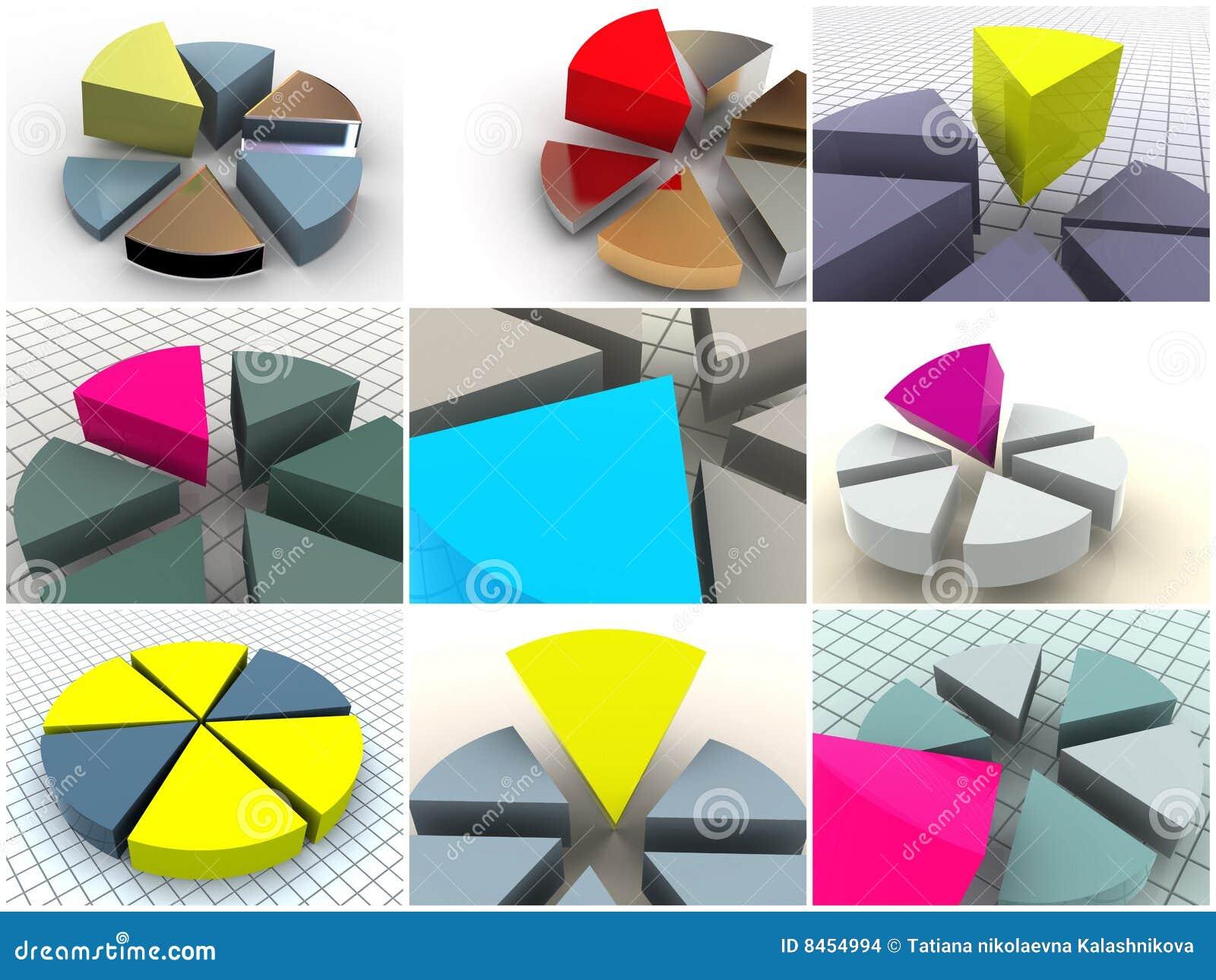 9 dimensionella symboler tre för collagediagram