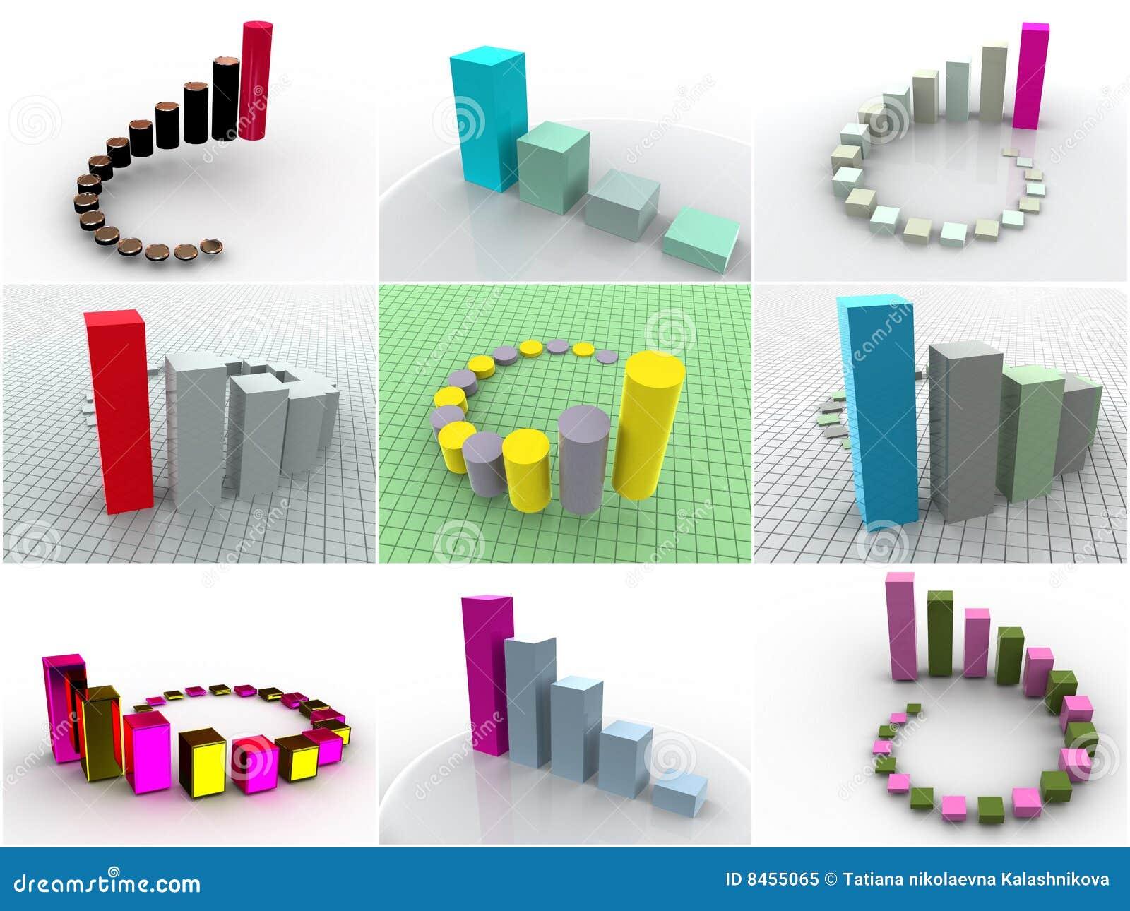 9 dimensionella symbolsscheman tre för collage