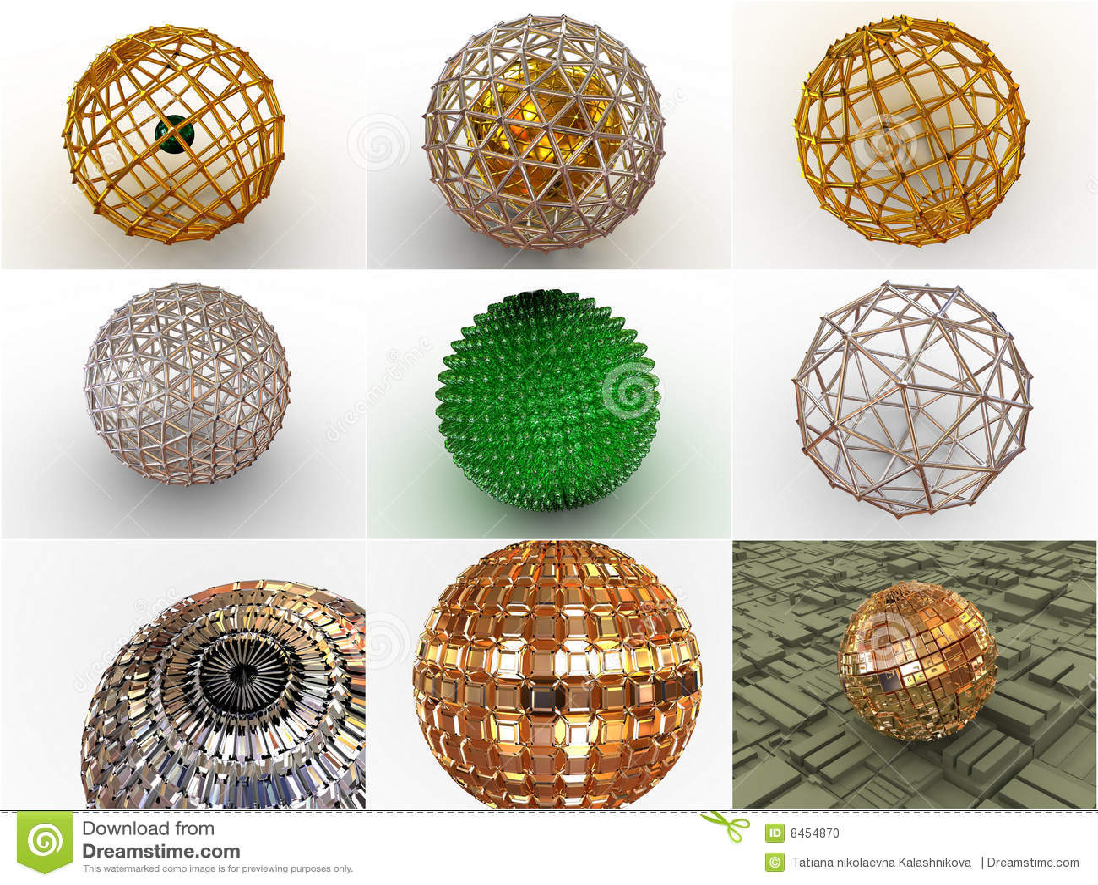 9 dimensionella symbolsspheres tre för collage