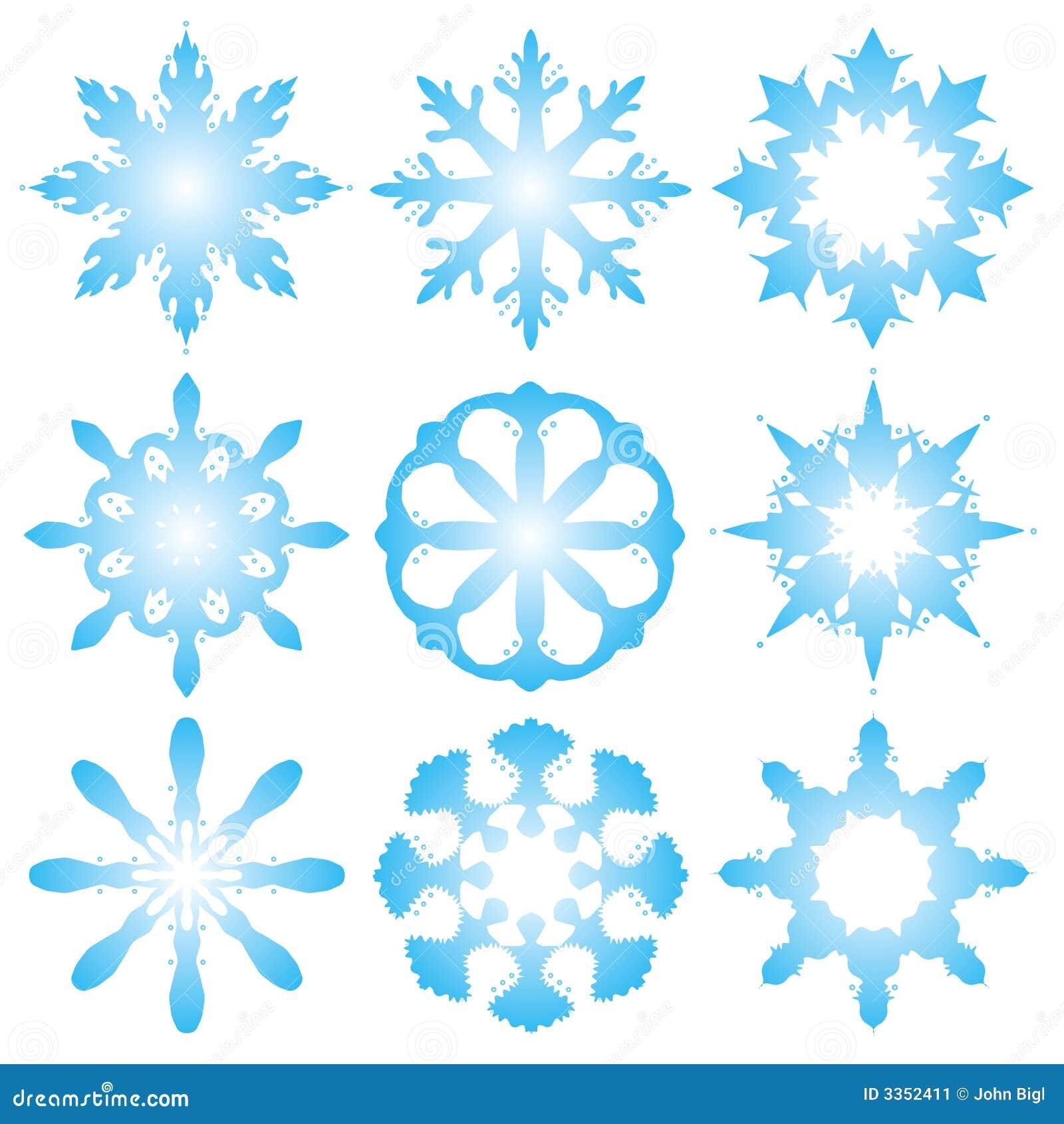 9 flocos de neve decorativos