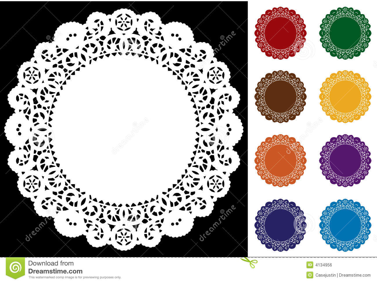 9 Lace Doilies Bright Colors Stock Vector Illustration