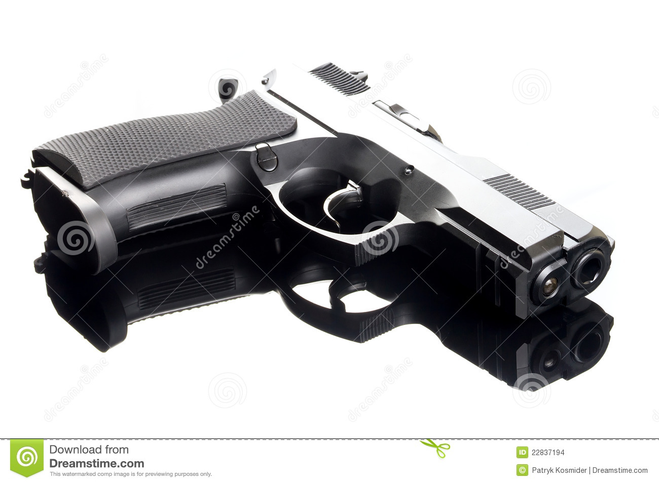 9 Mm Hand Gun On Glass Table Stock Images - Image: 22837194