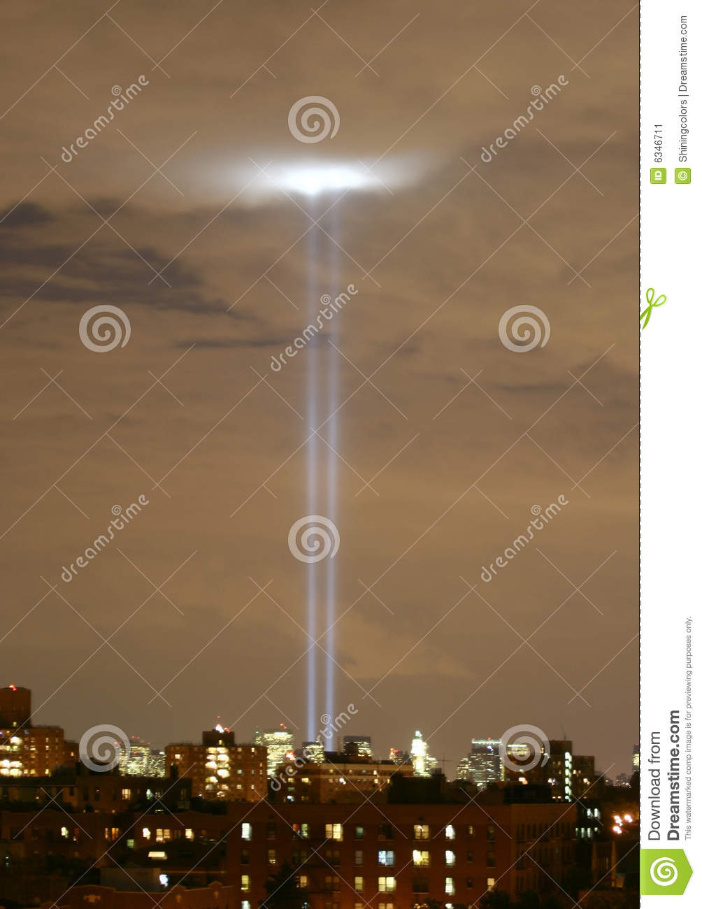 ... of light represent the World Trade Center twin towers shine upwards