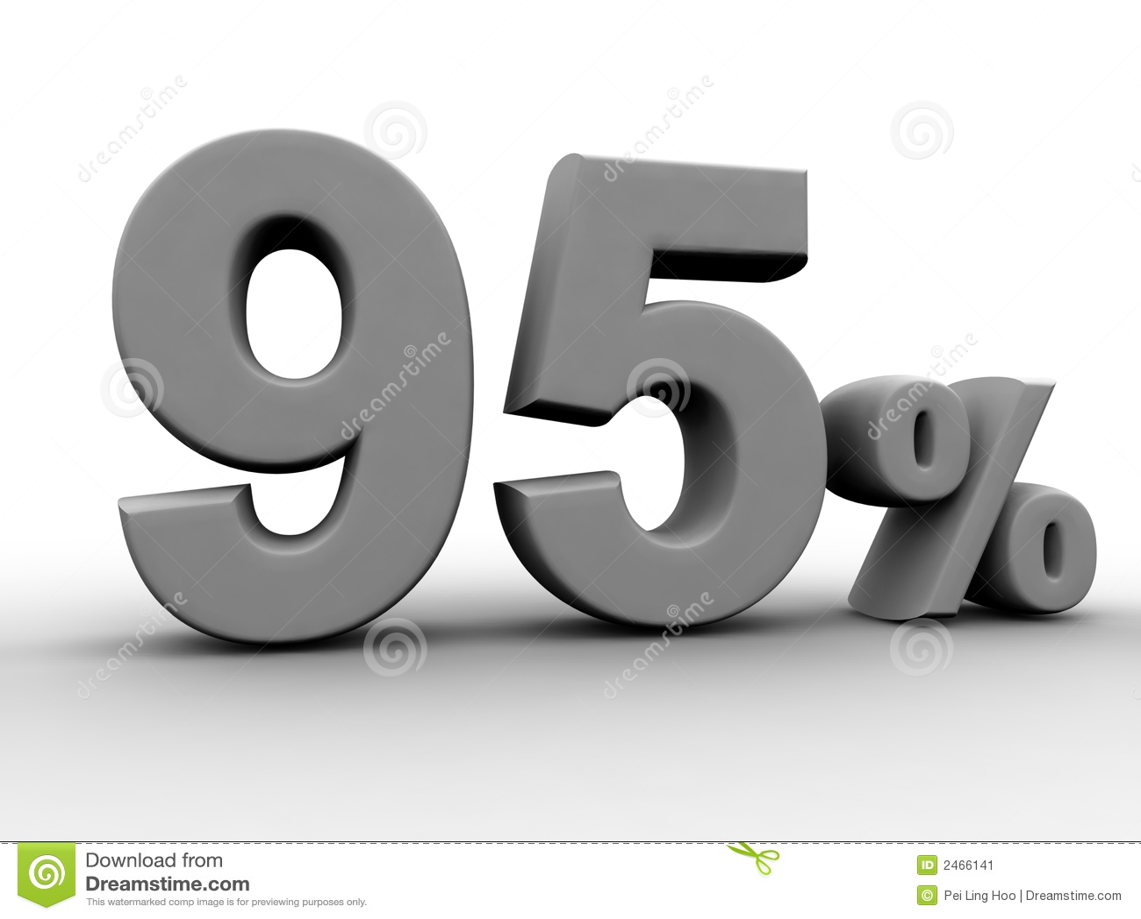 95 Percent Stock Image