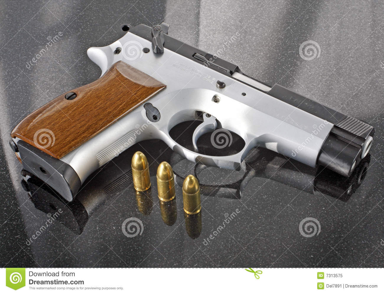9mm handgun with bullets stock image  Image of handgun - 7313575