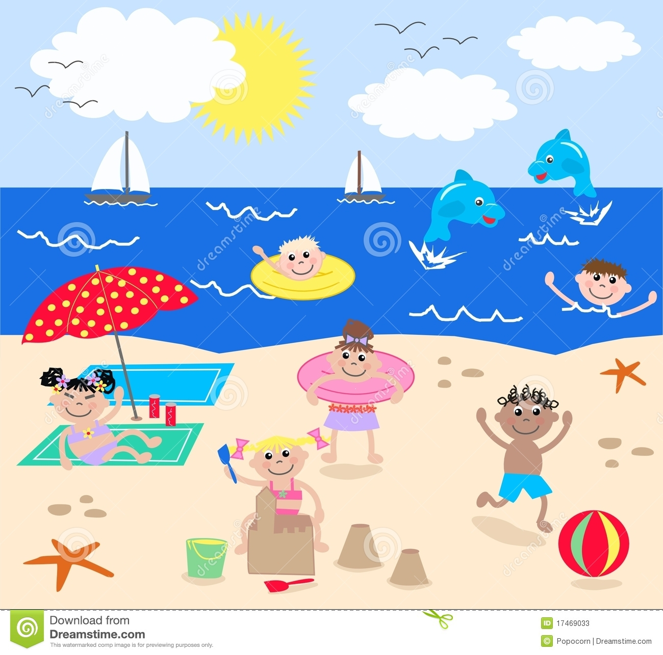 Kids Beach Clip Art Clipart kids aKids Playing On The Beach Clipart