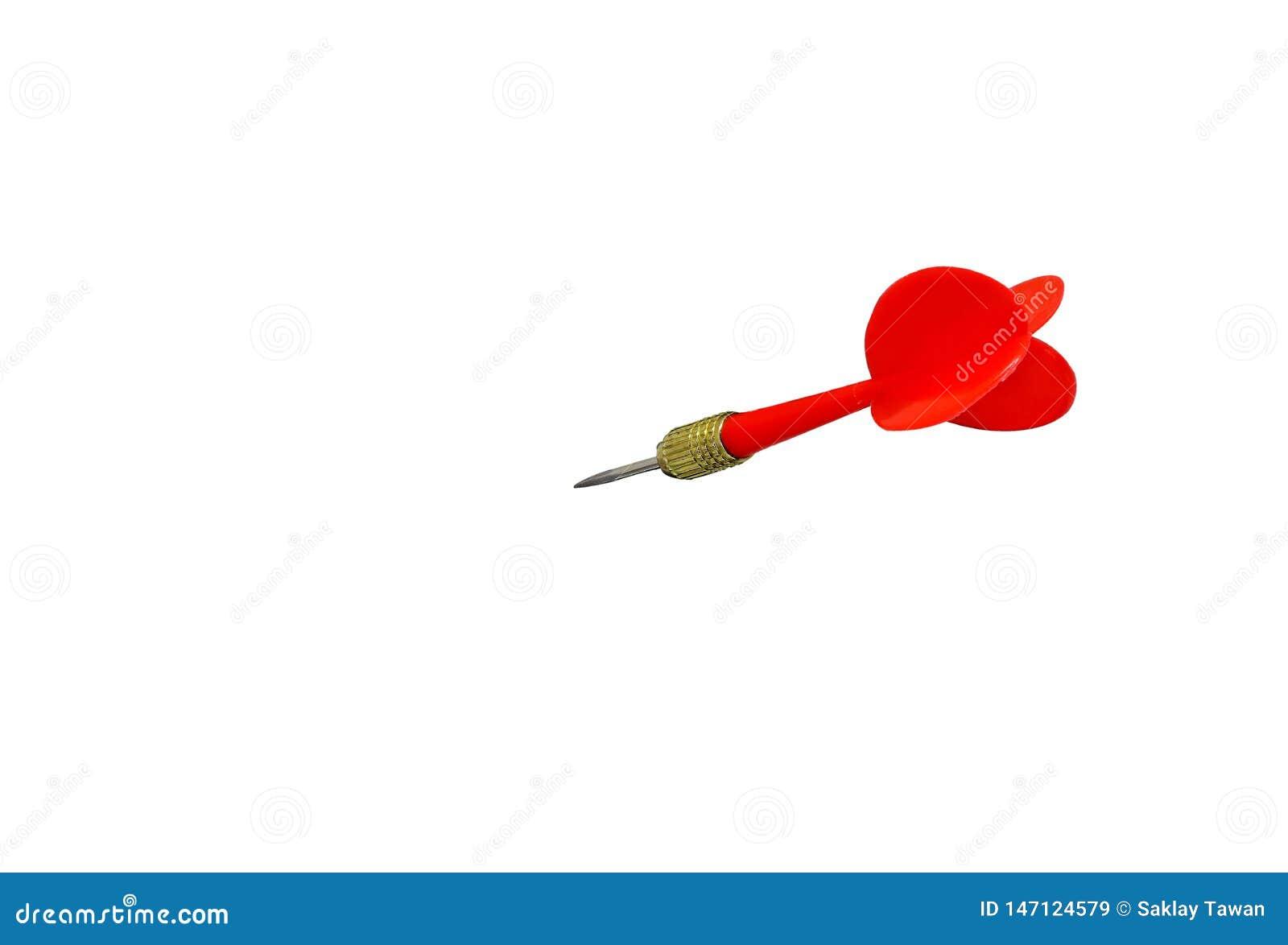 Aço vermelho da seta dos dardos isolado no fundo branco