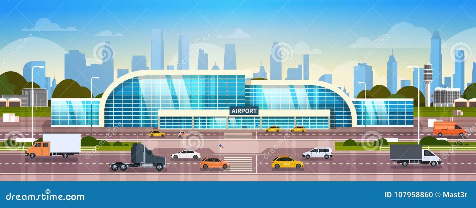 Aéroport établissant le terminal moderne extérieur avec des voitures sur la haute route de manière et des gratte-ciel sur la bann