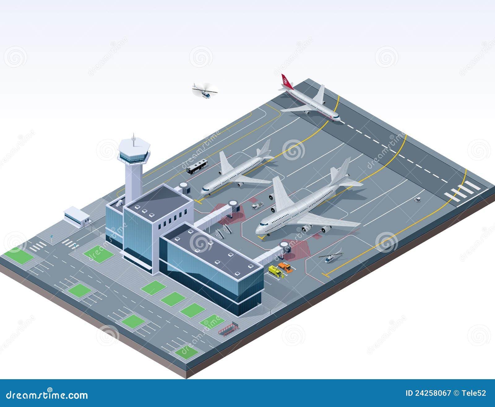 Aéroport isométrique de vecteur