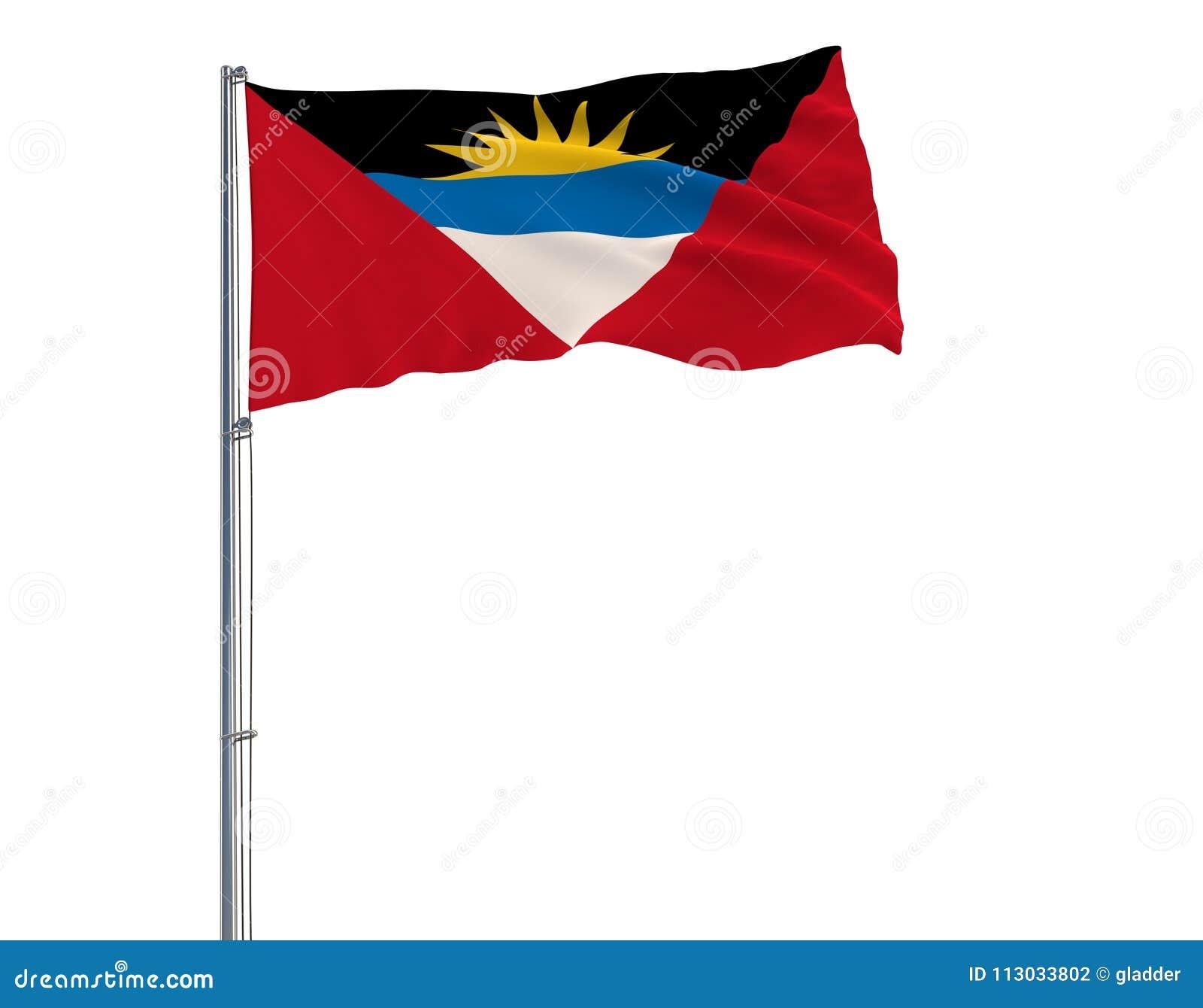 Aísle la bandera de Antigua y de Barbuda en una asta de bandera que agita en el viento en un fondo blanco, representación 3d