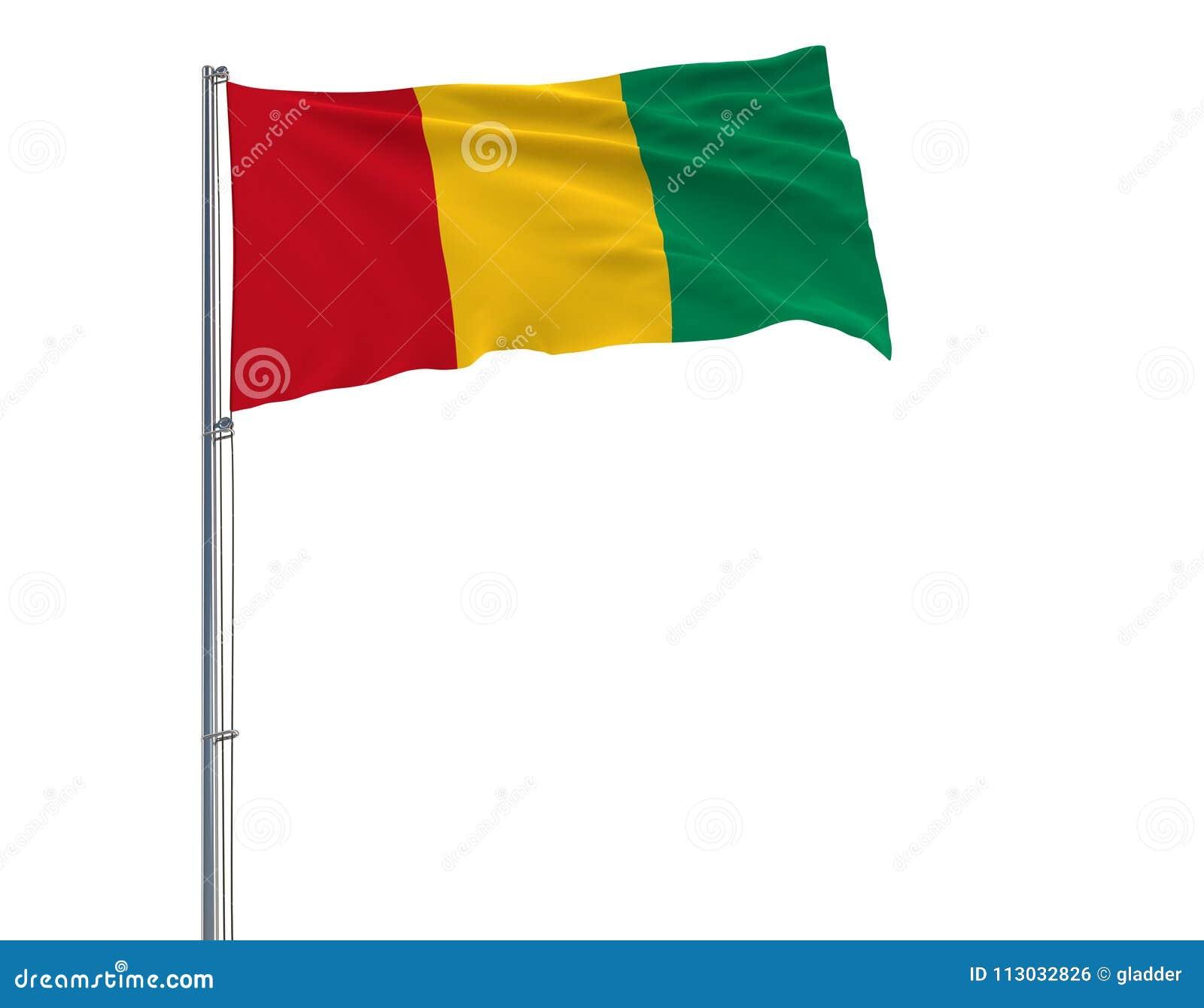 Aísle la bandera de Guinea en una asta de bandera que agita en el viento en un fondo blanco, representación 3d
