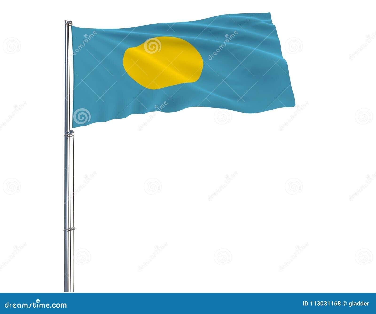 Aísle la bandera de Palau en una asta de bandera que agita en el viento en un fondo blanco, representación 3d