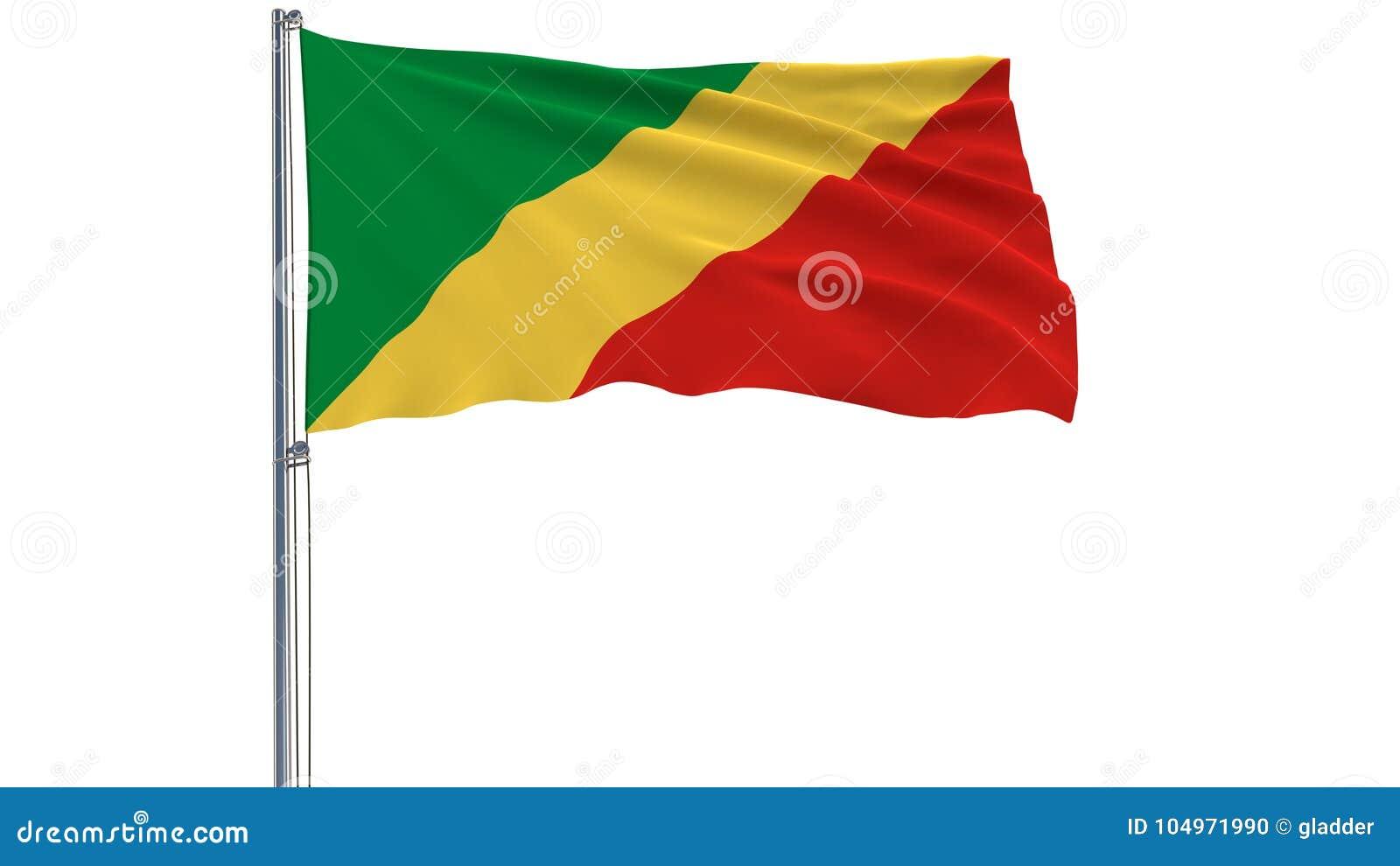 Aísle La Bandera Del República Del Congo En Una Asta De Bandera Que Agita En El Viento En Un Fondo Blanco Stock De Ilustración Ilustración De Congo Emblema 104971990