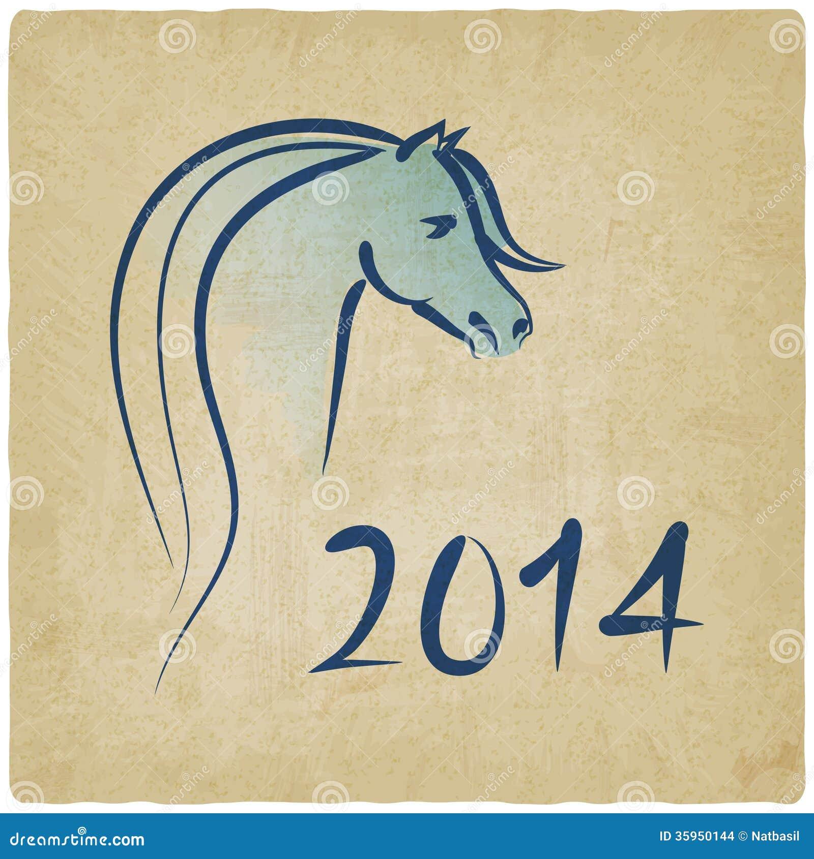 Año del fondo azul 2014 del caballo