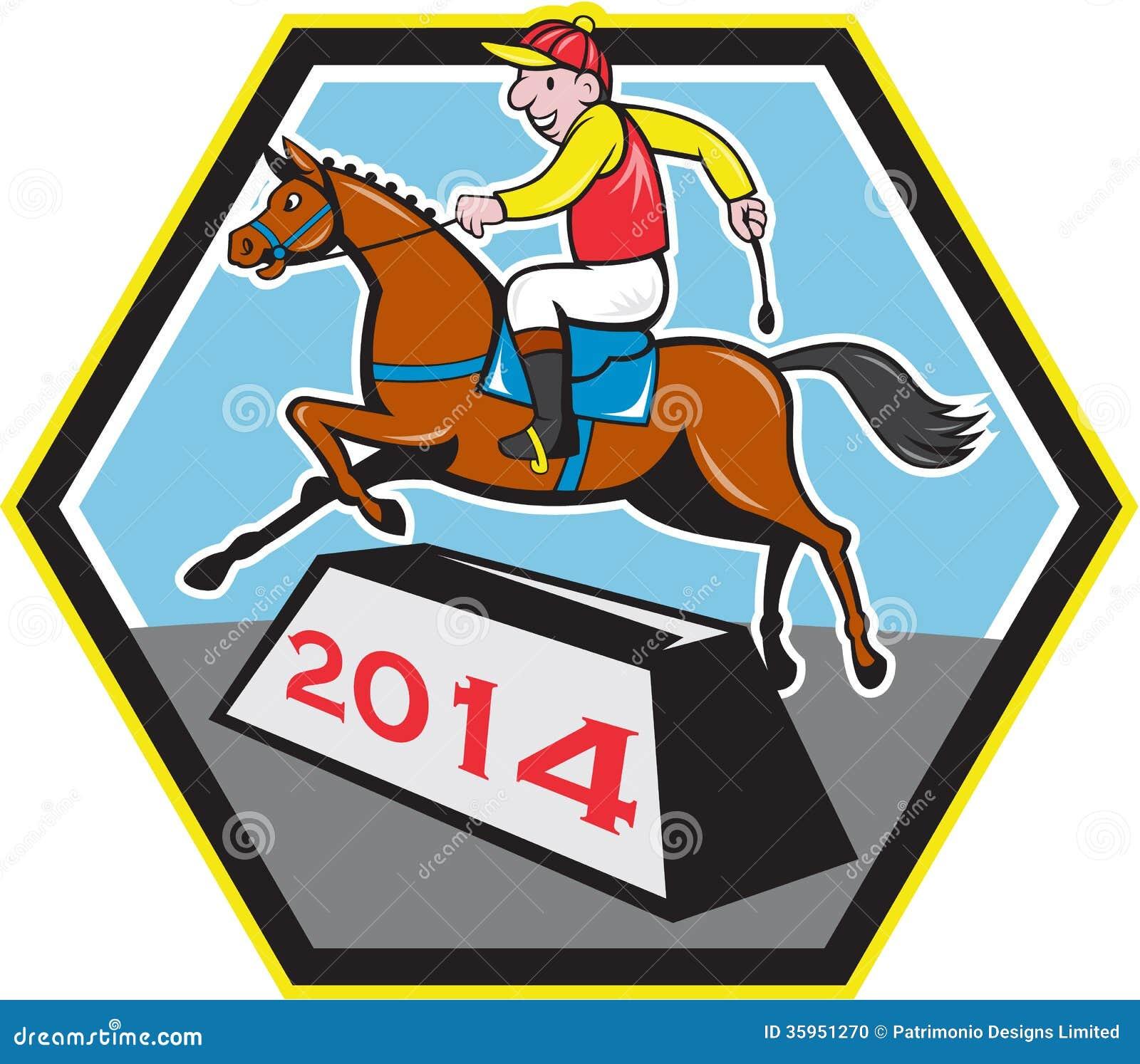 Año del jinete 2014 del caballo Jumping Cartoon